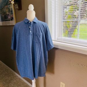 George blue and white striped men's polo, Sz. 2X